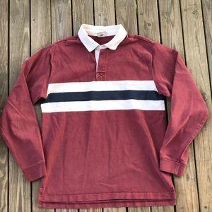 LL Bean rugby shirt l/s color block vintage Medium